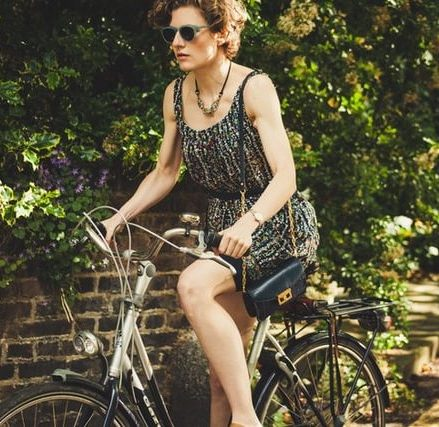 Woman riding her bike to work
